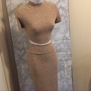 Sweater Crop Top/Skirt set